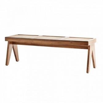 Bancheta maro din lemn si ratan 137 cm Cindy Madam Stol