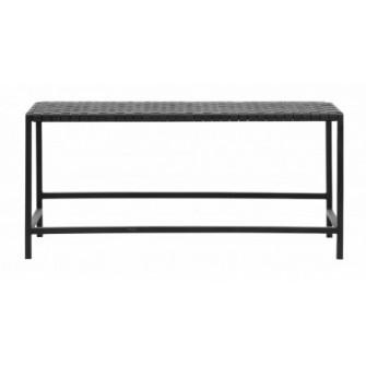 Bancheta neagra din piele si metal 101 cm Buffalo Bench