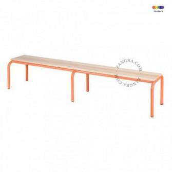 Bancheta portocalie/maro din lemn si metal 160 cm Kelle