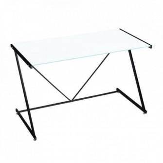 Birou alb/negru din sticla si metal 60x120 cm Cameron B