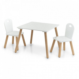 Set masa si 2 scaune albe/maro din MDF si lemn Scandi Z